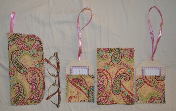 Pretty Honey Paisley ROSES Dual Passport Cover Or Organiser PLUS 2 Luggage Tags Plus Matching Belt Handbag Hang Glasses Or Cell Phone Case