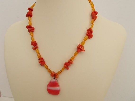 Baltic Amber and Red Coral Necklace with Art Glass Pendant, Anti-Inflammatory and Reiki Charged, 16 inches