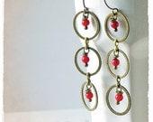 Woman, Dangle Earrings, Geometrical, Bohemian, Earrings, Long, Red Coral
