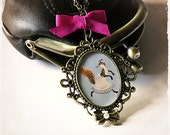 NECKLACE - Running Foxy - Vintage image set in ornate frame - Bedtime story inspired, Anthropomorphic animal