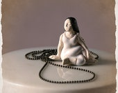 NECKLACE - Yoga Position Pendant - Hand crafted ceramic bead - Meditation, Zen, Relaxation -  Delicate, Elegant - Yoga inspired