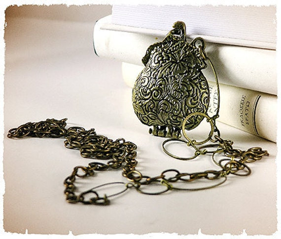 NECKLACE - Oh my Purse - Love message into the mini brass purse locket - Altered Jewelry, locket,  whimsical, romantic