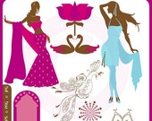 Indian Bollywood Clip Art Instant Download - india, movies, hindi, dancers, women, silhouette, saris, peacock - Personal Commercial Clipart