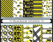 Construction Trucks Digital Paper for Scrapbooking, Cards, Invites, Photographers, Crafts - Commercial Use
