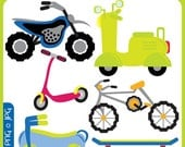 Fun Bikes Clipart - bikers, motorbikes, two wheelers, scooters, scrapbooking, premade logo - Personal and Commercial Use Clip Art