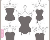 Corsets Silhouettes - corsets, bridal shower, shabby chic, lingerie shower, vintage style - Personal and Commercial Use Clipart