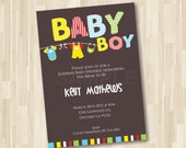 Baby Shower - Baby Clothesline Invitation DIY Printable for Baby Shower, Christening or Dedication 5x7 Card