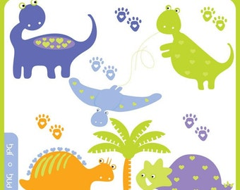 Baby Dinos Clip Art Instant Download - dinosaurs, jurassic park, science, fossils, premade logo - Personal and Commercial Use Clipart