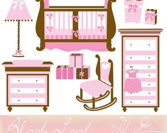 Baby Nursery Decor digital clip art set - gifts, cot, baby girl, pink nursery decor, baby nursery lamp, scrapbook - Personal and Commercial