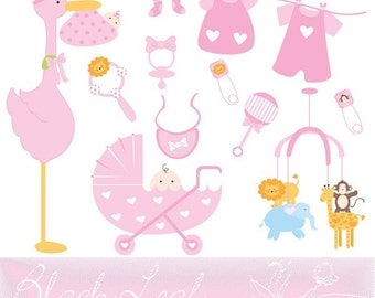 Baby Girl Doodles Digital Download - stroller, baby, cot mobile, toys, pink, baby shower, birth announcement - Personal and Commercial Use