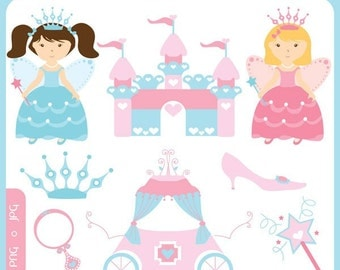 Baby Fairy Princess - tiara, castle, palace, magic wand, magic mirror, fairy tale, baby shower, birth- Personal and Commercial Use Clipart