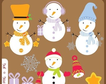 WinterJoy ORIGINAL digital clip art illustration set - snowman, scrapbooking, cute snowman, seasons, winter, cold, snow, ice, outdoors, mufflers, mittens, scrapbooking, year end, holidays, christmas, traditional - Personal and Commercial Use Clip Art