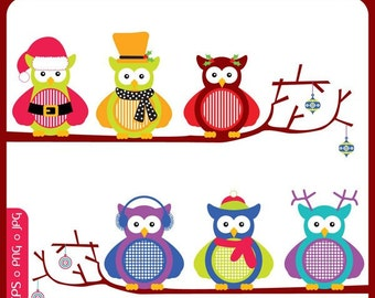 Merry Owls - christmas owls, winter woodland, scrapbooking, hoot hoot, barn owls, woodland - Personal and Commercial Use Clip Art