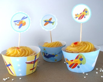 Airplanes Baby Shower or Birthday Party Cupcake Wrappers & Toppers Printable Kit - boys party, airplanes theme party, colourful airplanes