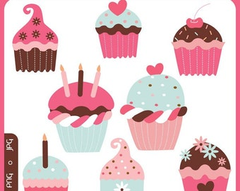 Sweet Cupcakes - sweet treats, cream, icing, sprinkles, cupcake toppers, premade logo, baking, cakes - Personal and Commercial Use Clip Art