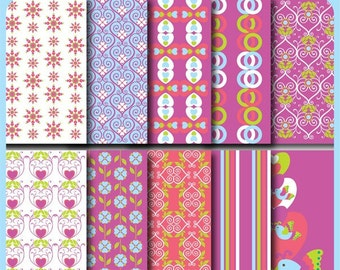 Love Flutters Valentine Digital Paper for Scrapbooking, Cards, Invites, Photographers, Crafts