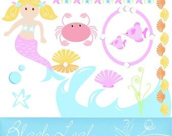 Little Mermaid - fish, sea, underwater, cute mermaid, baby mermaid, party printables, fairy tale - Personal and Commercial Use Clip Art