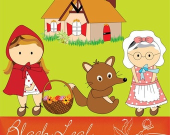 Red Riding Hood ORIGINAL digital clip art illustration set - wolf, house, grandma - Personal and Commercial Use Clip Art