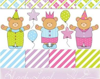 Birthday Celebration Boy Baby Bear ORIGINAL digital clip art illustration set and digital papers - happy birthday, bear, cuddles, scrapbooking, its a boy, its a baby, nursery decor, polka dots, party supplies - Personal and Commercial Use Clip Art