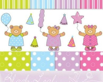 Birthday Celebration Girl Baby Bear ORIGINAL digital clip art illustration set and digital papers - birthday, happy birthday, bears, cuddles, party, balloons, baby, its a girl, its a baby, nursery decor - Personal and Commercial Use Clip Art