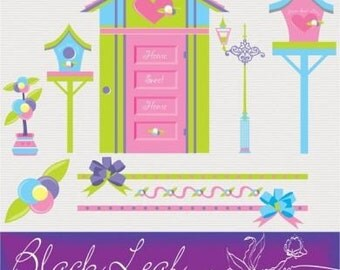 Home Sweet Home ORIGINAL digital clip art illustration set - new house, moving, welcome, neighbour, house warming, bird house, tweet, scrapbooking, birds, bows - Personal and Commercial Use Clip Art