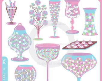 Apothecary Jars - candy, buffet, bridal, birthday, candy shoppe, candy party, candy jar, candy buffet - Personal and Commercial Use Clipart