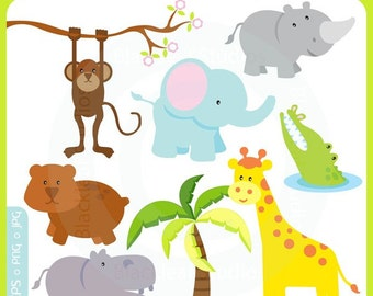 Cute Baby Safari Animals - jungle, mod animals, noahs ark, forest, lion, giraffe, rhino, hippo, crocodile  - Personal and Commercial Clipart