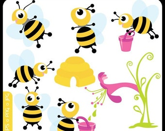 Springs Baby Busy Bees ORIGINAL digital clip art illustration set - bumble bee, honey bee, humming - Personal and Commercial Use Clip Art