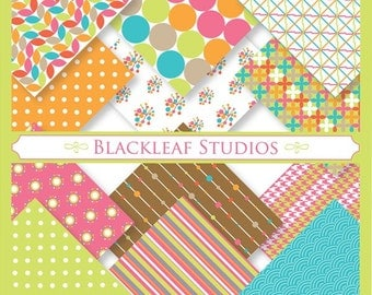 Bright and Light Hearted Digital Paper for Scrapbooking, Cards, Invites, Photographers, Crafts