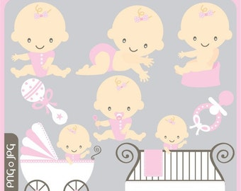 Little Baby Girl ORIGINAL digital clip art illustration set - cute baby, its a girl, its a baby, baby - Personal and Commercial Use Clip Art