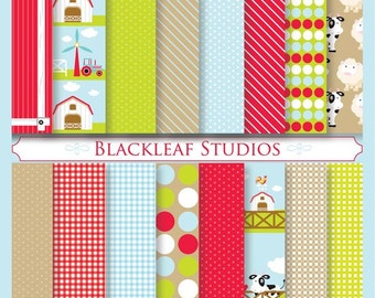 Barnyard Animals Digital Paper for Scrapbooking, Cards, Invites, Photographers Marketing Kits, Crafts
