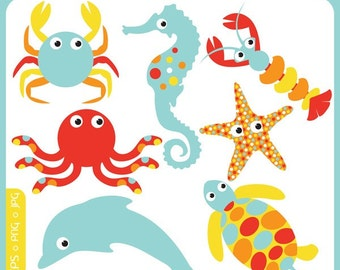 Cute Baby Sea Animals - starfish, crab, sea horse, tortoise, lobster, octopus, dolphin, premade logos - Personal and Commercial Clip Art