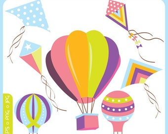Flying High Kites - kites, balloons, hot air balloons, vintage - Personal and Commercial Use Clip Art