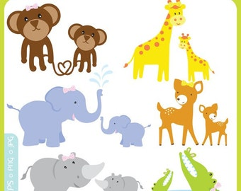 Cute Mama and Baby Animals Clip Art Instant Download - mom and baby, baby shower, child, cute baby animals - Personal and Commercial Use