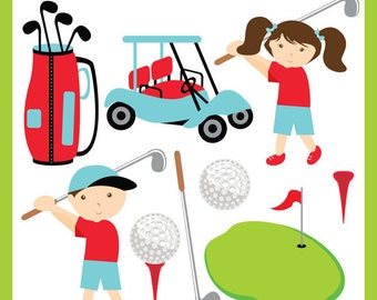 Golfing ORIGINAL - golf cart, golf ball, t off, golf caddy, golf club, kids golf, fun golf - Personal and Commercial Use Clip Art