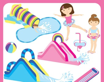 Water Slides - swimming pool, water party, swimmers, fun kids, pool party,  tropical, flip flops - Personal and Commercial Use
