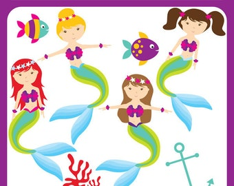 Little Mermaid - fish, sea, whimsical, underwater, cute mermaid, baby mermaid, party printables, fairy tale - Personal and Commercial Use