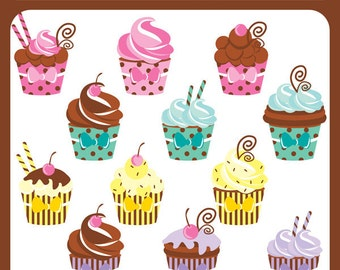 Sweet Treat Cupcakes - sweet treats, swirls, cream, icing, sprinkles, cupcakes, sugar, baking, cakes - Personal and Commercial Use Clip Art