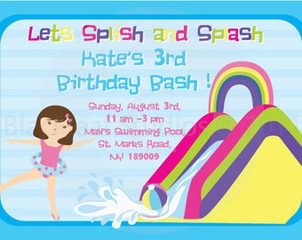 Pool Side Splish Splash Water Slides Birthday Party Invitation DIY Printable 5x7 Card