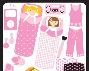 Slumber Party Digital Download - sleep over, sleeping bag, pyjama party, pillow, slippers, pizza slumber party- Personal and Commercial Use