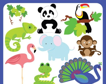 Tropical Animals - elephant, monkey, hornbill, peacock, snake, panda, chameleon, flamingo - Personal and Commercial Use