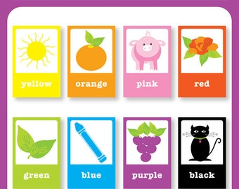 Color Flash Cards - DIY Printable for toddlers, primary education, nursery decor, teaching material, educational printables