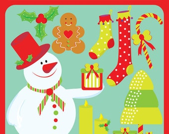 Traditions of Christmas - Snowman, Gingerbread Cookies, Candy Stick, Tree, Holly Berry - Commercial License Included Clipart