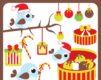 Christmas Birds and Ornaments - birds, winter trees, baubles, christmas birds, gifts, tree ornaments - Personal and Commercial Use Clipart