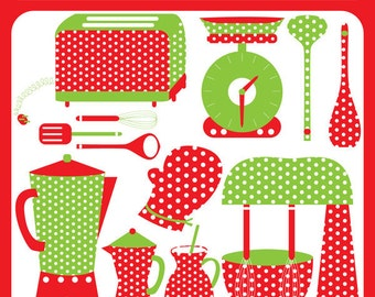 Christmas Kitchen - christmas baking, kitchen, chef, kettle, spoons, laddle, chef hat, woman cooking - Personal and Commercial Use