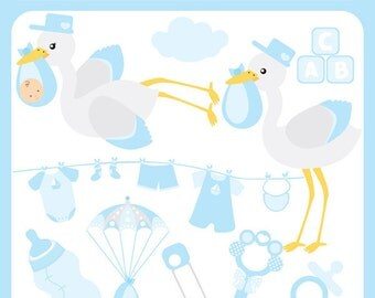Stork Baby Boy - blue stork, stork carrying baby, pacifier, bottle, birth announcement, baby shower - Personal and Commercial Use Clipart