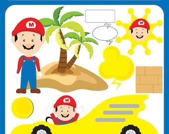 Gaming Hero - mario bros, super mario, nintendo, mario party,  birth announcement, baby shower Personal and Commercial Use Clip Art