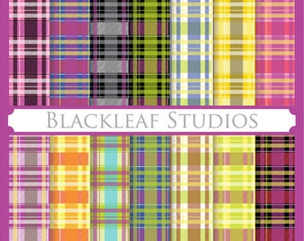 Plaid Pattern Scottish Fabric Checks- Digital Paper for Scrapbooking, Cards, Invites, Photographers, Crafts