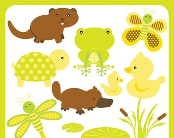 Baby Pond Animals Instant Download Clipart - beaver, otter, ducks, frog, lotus, platypus, cute pond, premade logo - Personal & Commercial