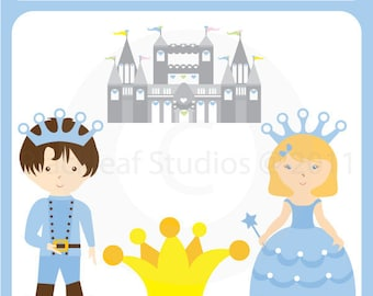 Princess and Prince - royal theme party, princess, prince, premade logo, digital downloads, images, - Personal and Commercial Use Clip Art